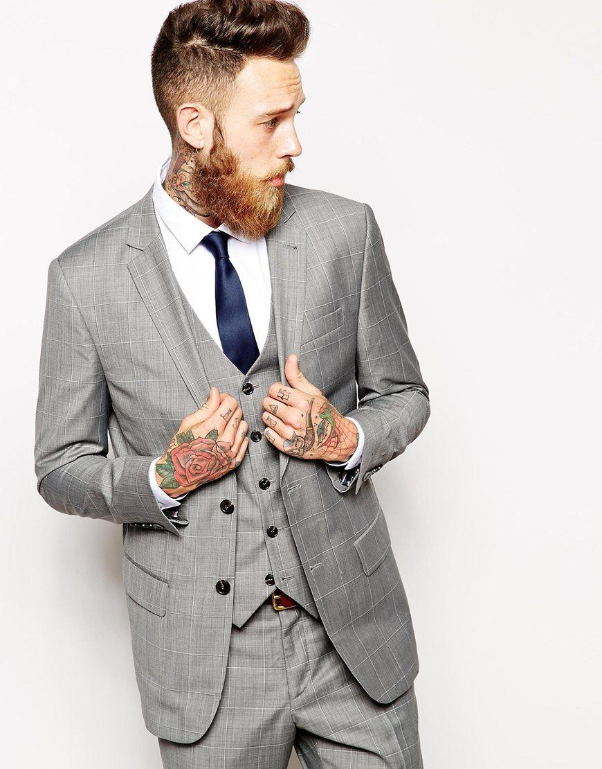 New Style Grey Mens Suits Notched Lapel Wedding Suits for Men 2015 ...