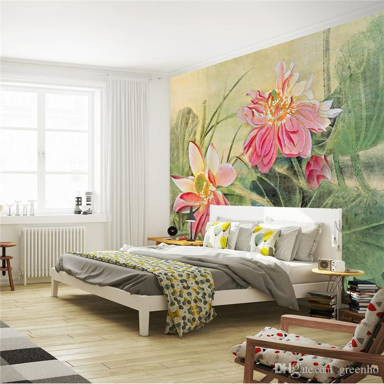 Vintage lotus painting photo wallpaper 3d flower wall for 3d wallpaper for home singapore