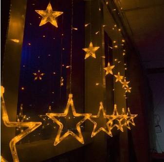Led Star Curtain Lights 138 Leds Strobe Light Christmas Stars