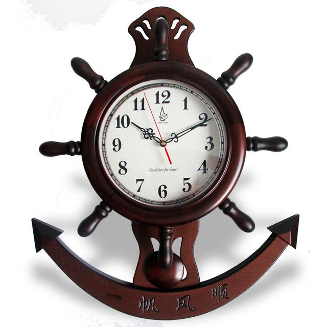 Mute Wood Wall Clock Pendulum Clock Chinese Sailing Style Vintage