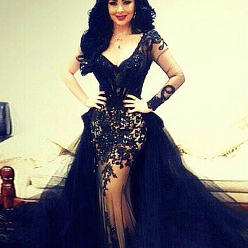 2015 Sexy Mermaid Prom Dresses Black Saudi Arab V Neck Illusion ...