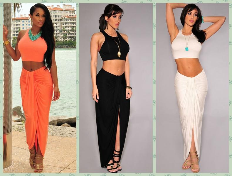 Sexy Women Crop Top And Skirt Set Tank Top And Ruched Long Maxi ...