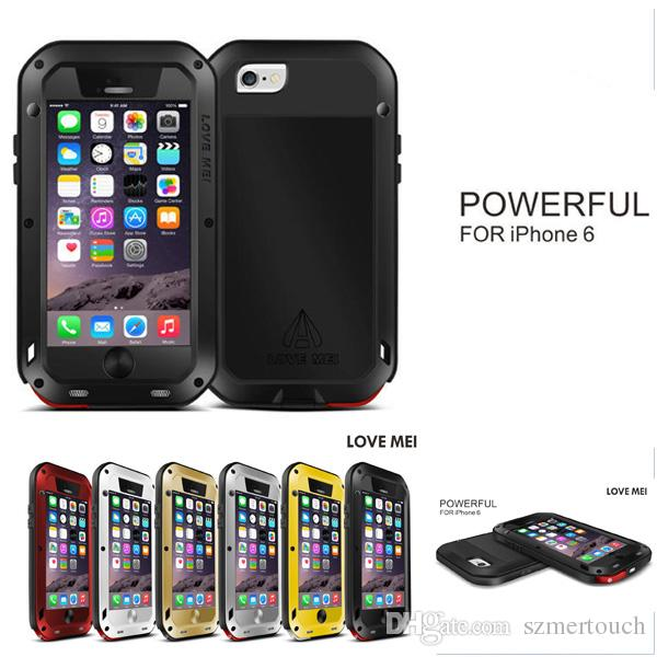 iPhone 6 LOVE MEI Case Water/Dirt/Shockproof Protective Metal+Silicon phone powerful case retail package