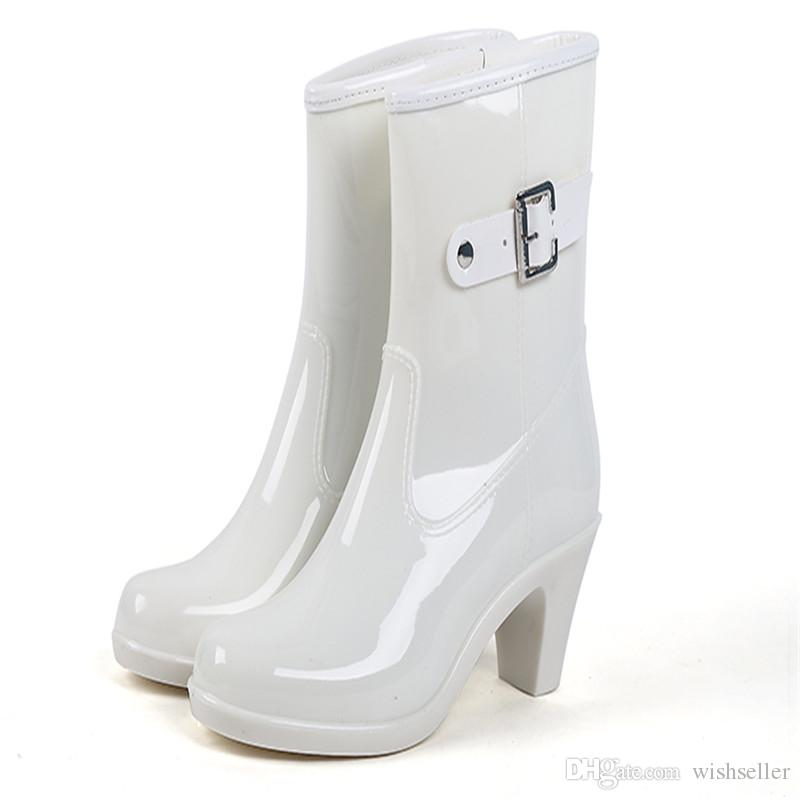 2017 Women Boot High Heel White Color Princess Temperament Rubber