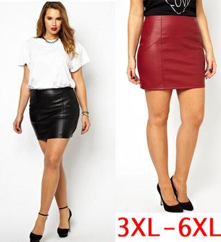2017 Sexy Women Short Skirts Plus Size 5xl 6xl Pu Faux Leather ...