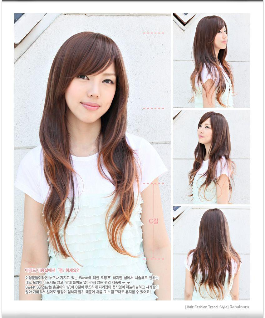 Asian Side Swept Bangs Round Face Layered Hairstyles With Side