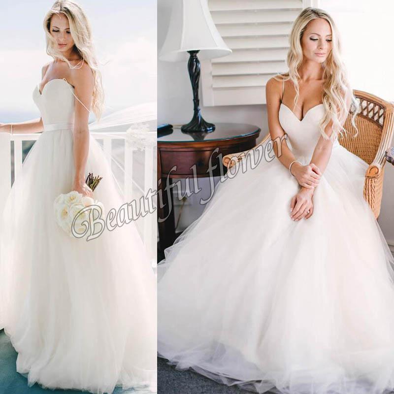 2015 Cheap White Tulle Plus Size Wedding Dresses For Women Spaghetti Straps Corset Bridal Gowns