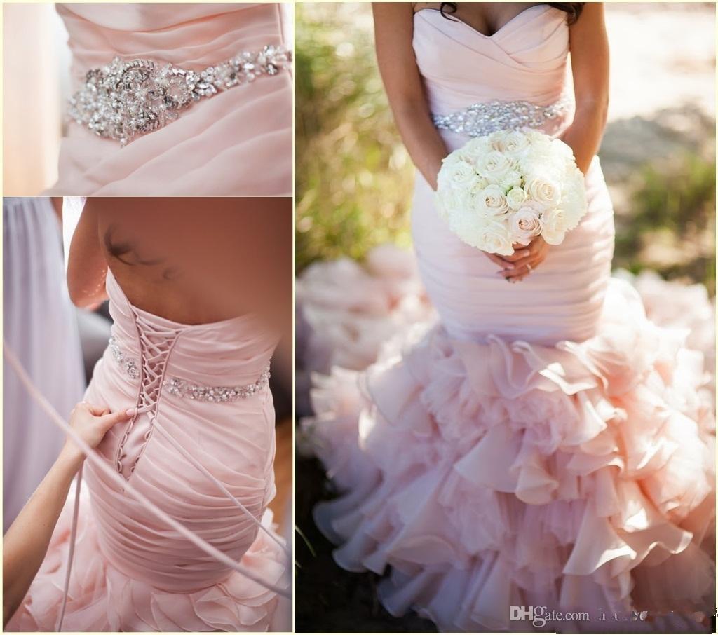 Blush Pink Sweetheart Mermaid Wedding Dresses With Organza