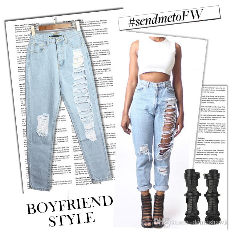 La mode en Vrac Sarouel Taille Haute Bleu Jeans Déchirés de Hip Hop, les Femmes