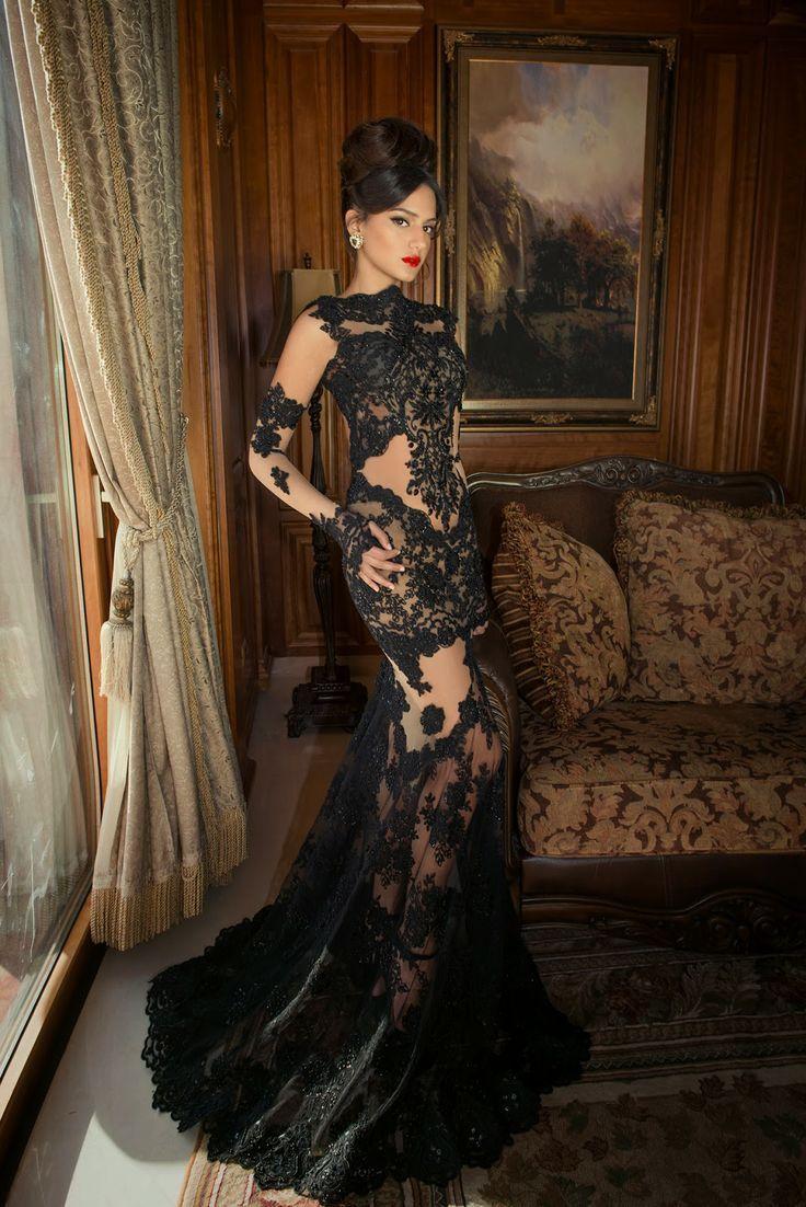 2015 long sleeve prom dresses mermaid sheer black lace appliques