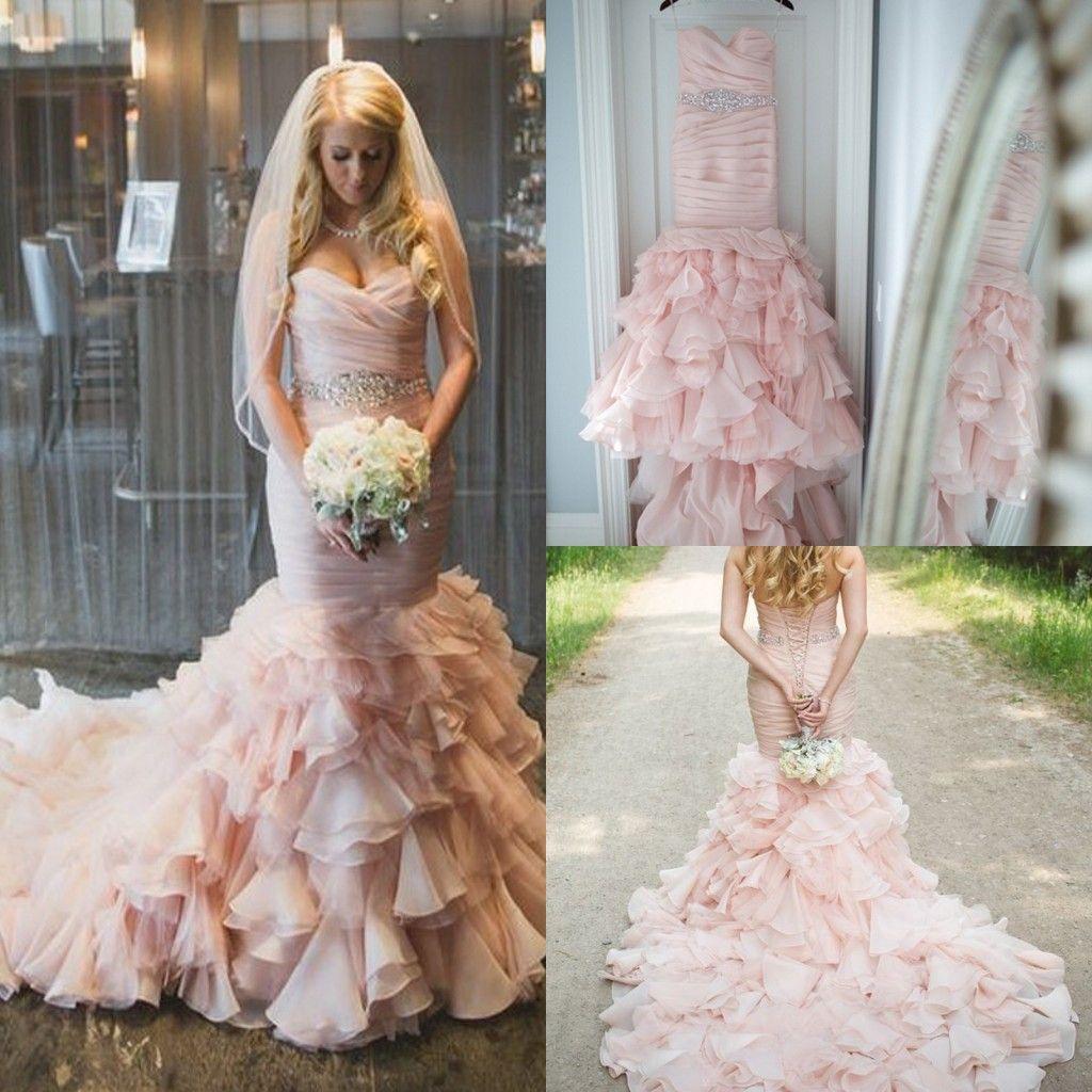 High Quality Blush Pink Mermaid Wedding Dresses 2015