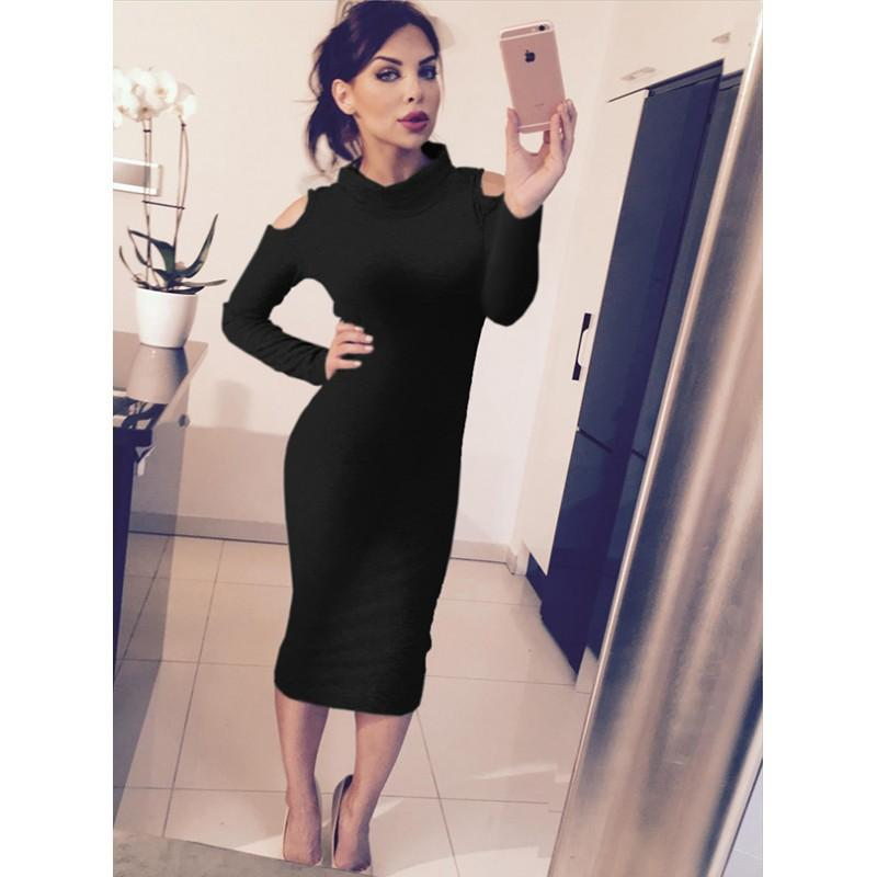 Sexy Bodycon Dress 2016 Autumn Winter Women Long Sleeve Off The ...