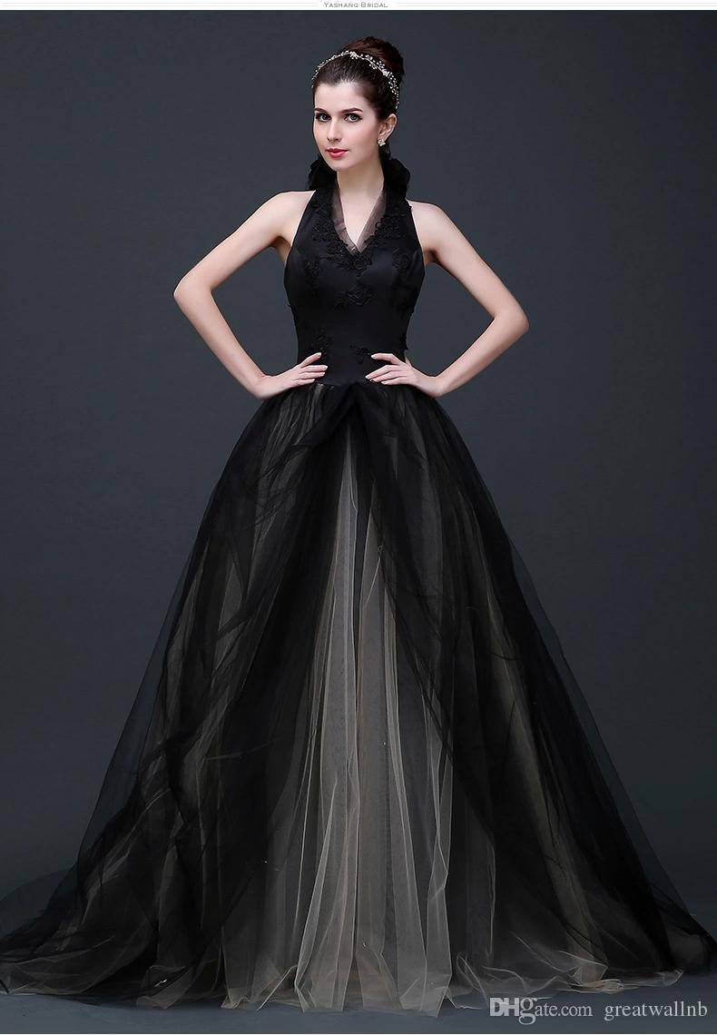 Black Veil Haltr Collar Embroidery Long Medieval Dress ...