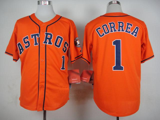Astros #1 Correa Jersey Newest Orange Baseball Jerseys Brand ...