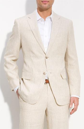 Casual Beige Linen Suits Summer Notched Lapel Men Wedding Suits ...