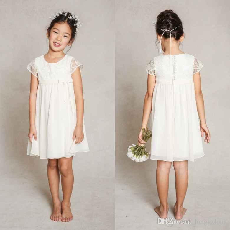 Short Sleeve Lace Flower Girl Dresses 2015 Knee Length Formal ...