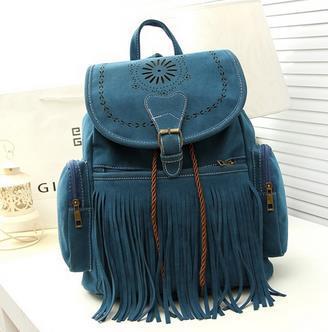 Hot Sale Tassel Backpack Vintage Drawstring Suede Leather Backpack ...