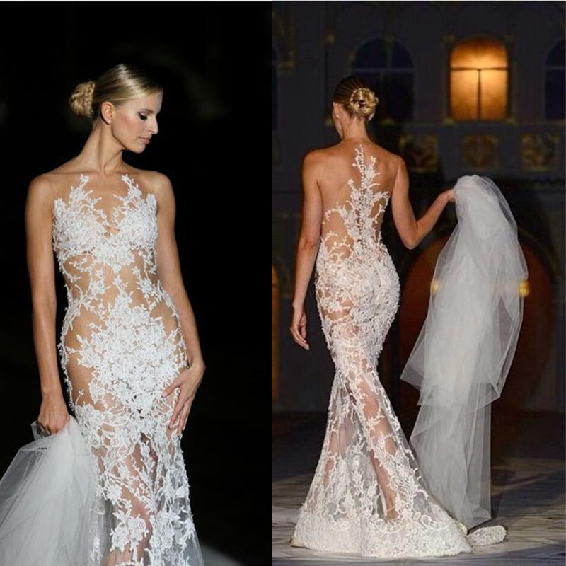 Sweep Train Mermaid Wedding Gowns Covered Button Applique