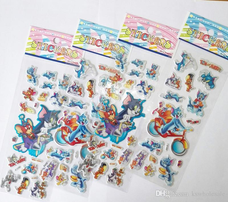 stickers for kid tom & jerry cartoon toy mouse and cat puffy stickers kids toys school kindgarden anime favors