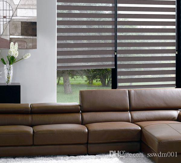 Translucent 7 Fold Roller Zebra Blinds In Coffee Curtains For Living Room 31in48in Luxury Ikea Window Curtain Online