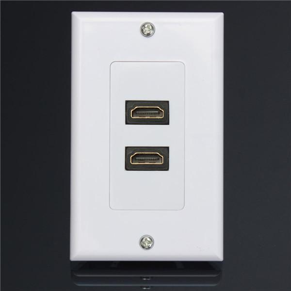 best dual port hdmi panel wall outlet cover face plate cable coupler extension socket media. Black Bedroom Furniture Sets. Home Design Ideas