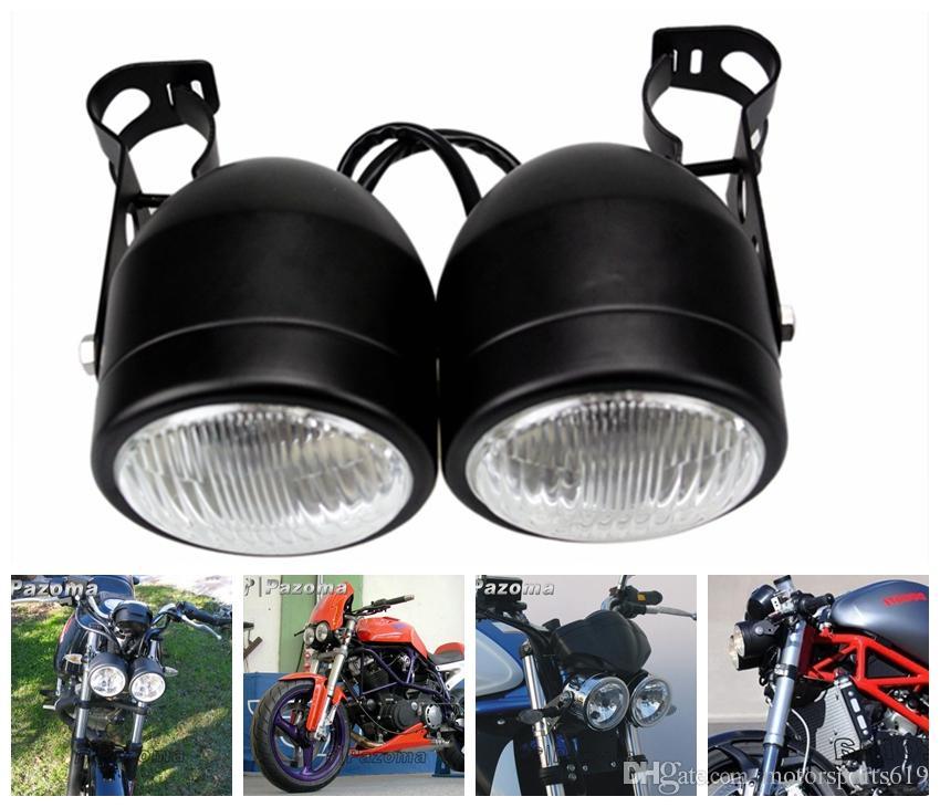 Pazoma Motorcycle Headlight Streetfighter Black Twin Dual