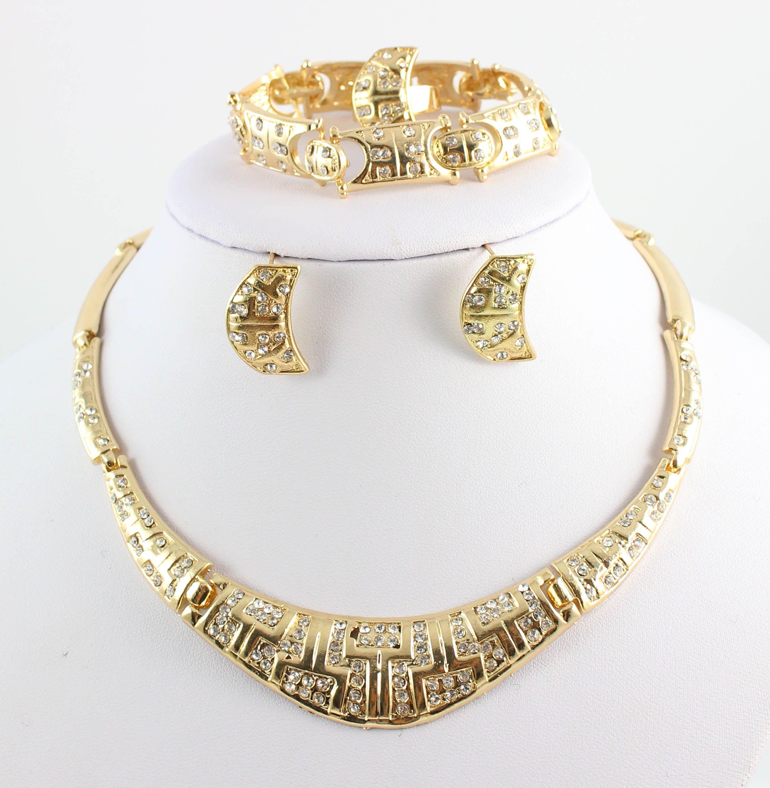 New Charming Lady 18k Gold Plated Jewelry Elegant Fashion Bridal Wedding Dress Accessories