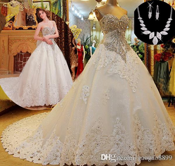 New Design Black Sweetheart Lace Up Crystal Embroidery: Custom Sweetheart Luxury Crystal Wedding Dresses Beads A