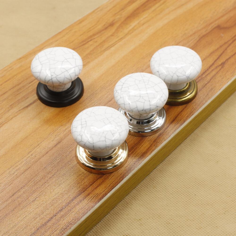 Crack Marble White Ceramic Single Door Knobpull with Silver