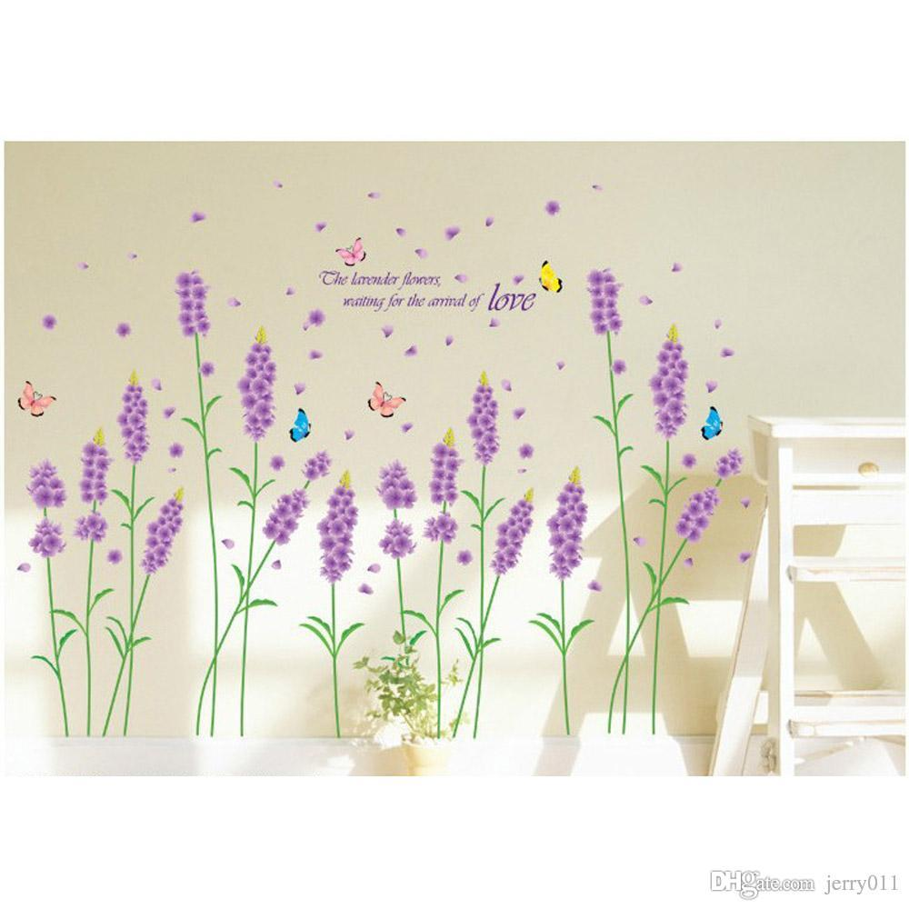 Purple Romantic Big Flower Wall Stickers Home Decor: Diy Purple Lavender Flower Wall Stickers Removable