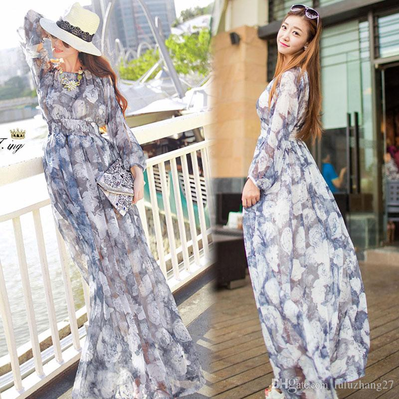 Casual Maxi Dresses 2016 New Plus Size Women Summer Chiffon Long ...