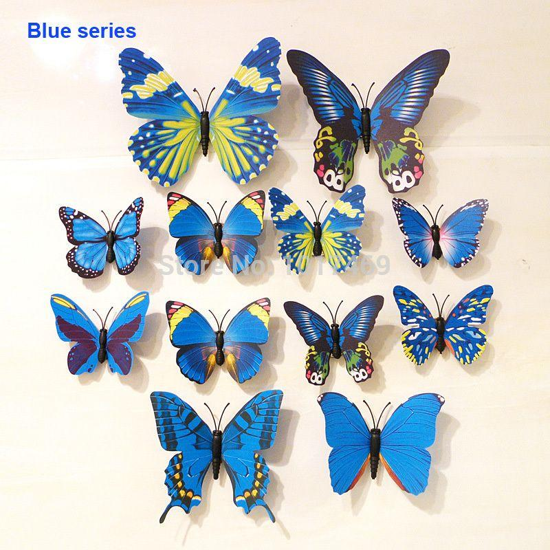 12pcs Lot 3d Flying Butterflies Wall Sticker For Wall Art Decal Removable Home Decoration Diy