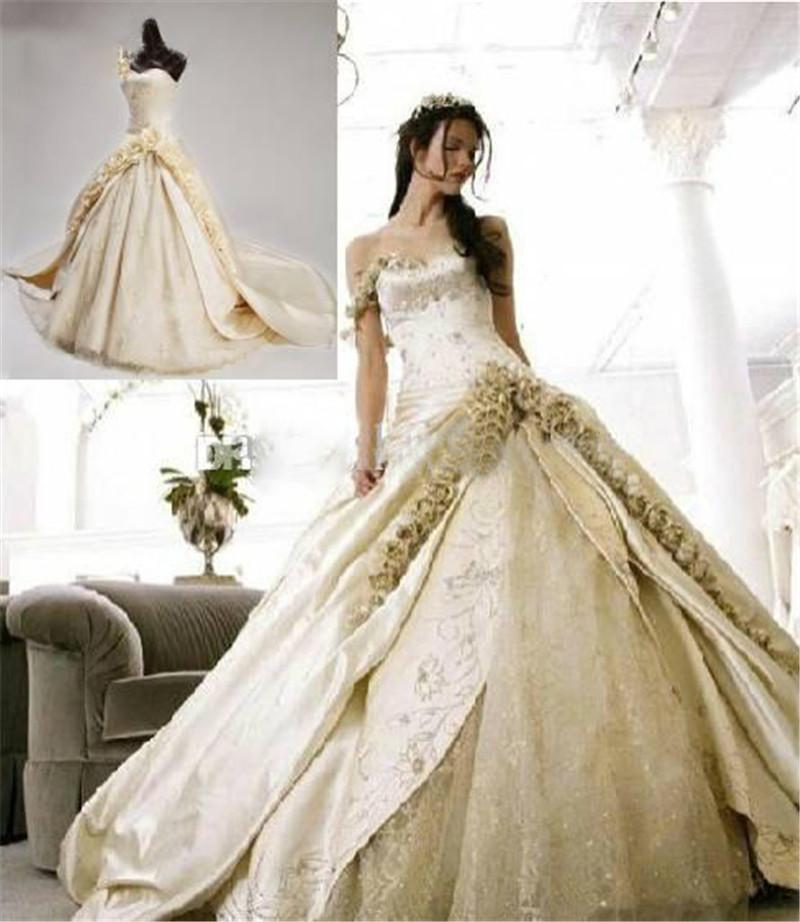 Discount India Style Champagne Wedding Dresses One Shoulder Stain Beaded Appliques Handmade