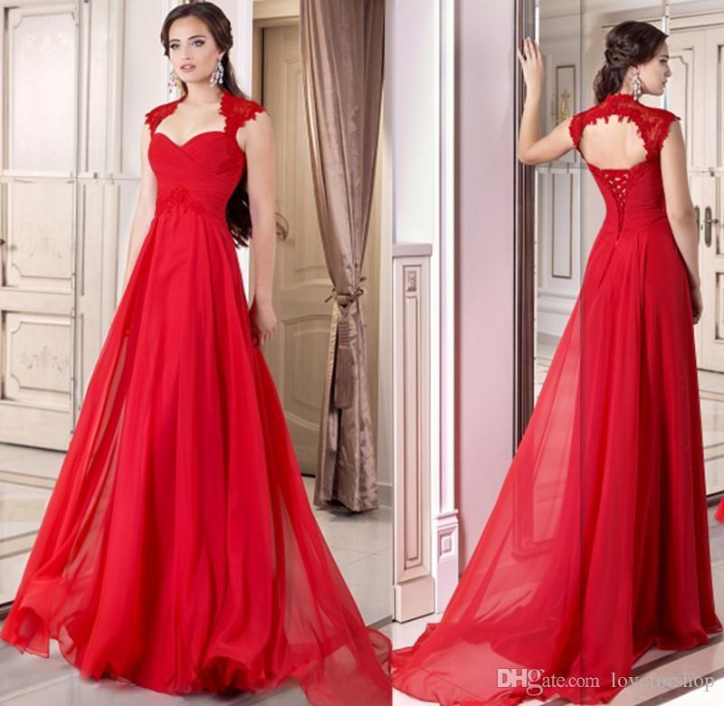 2016 Formal Red Evening Gown Corset Chiffon Long Full Length Lace ...