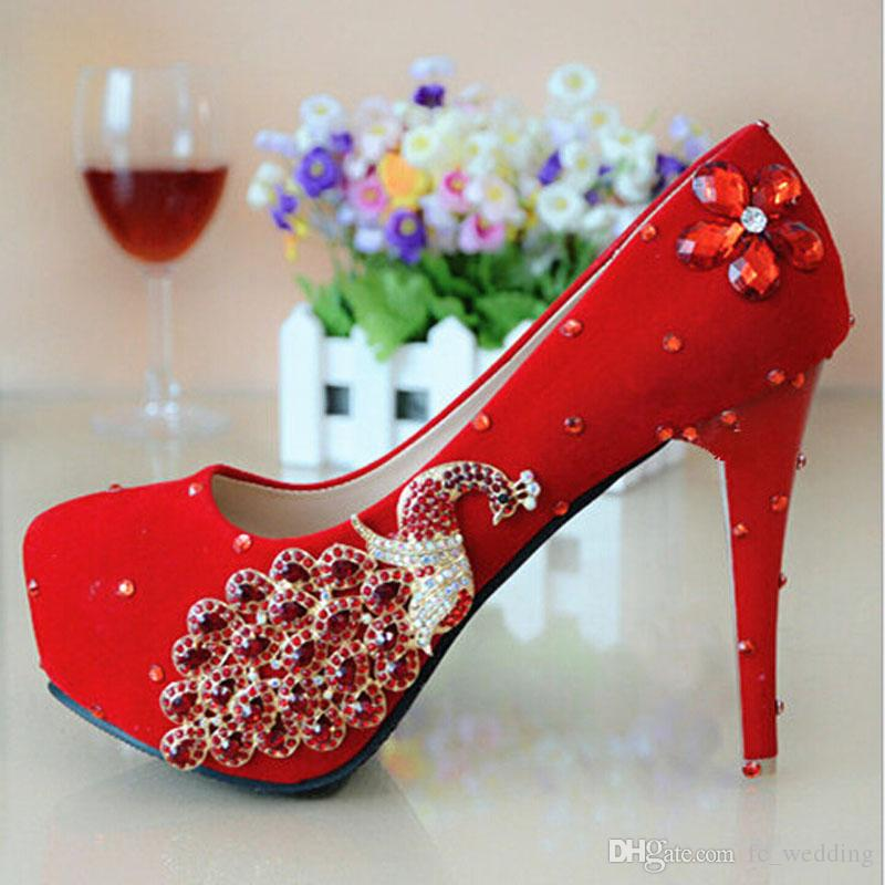 new design red bridal shoes with fancy crystal high quality bridal shoe high quality and fast shipping