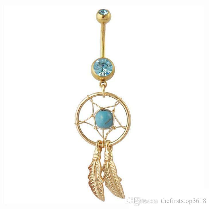 Turquoise Native American Dreamcatcher Belly Ring