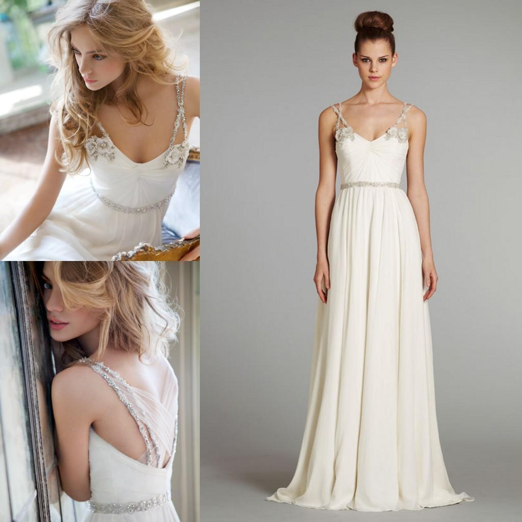 Grecian Draped Bridal Gown With Handmade Flower Beaded Spaghetti ...