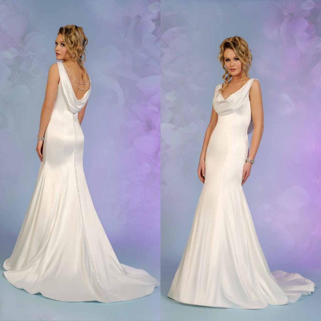 Elegant Drape Wedding Dress Mermaid Beading Open Back Sweep Train