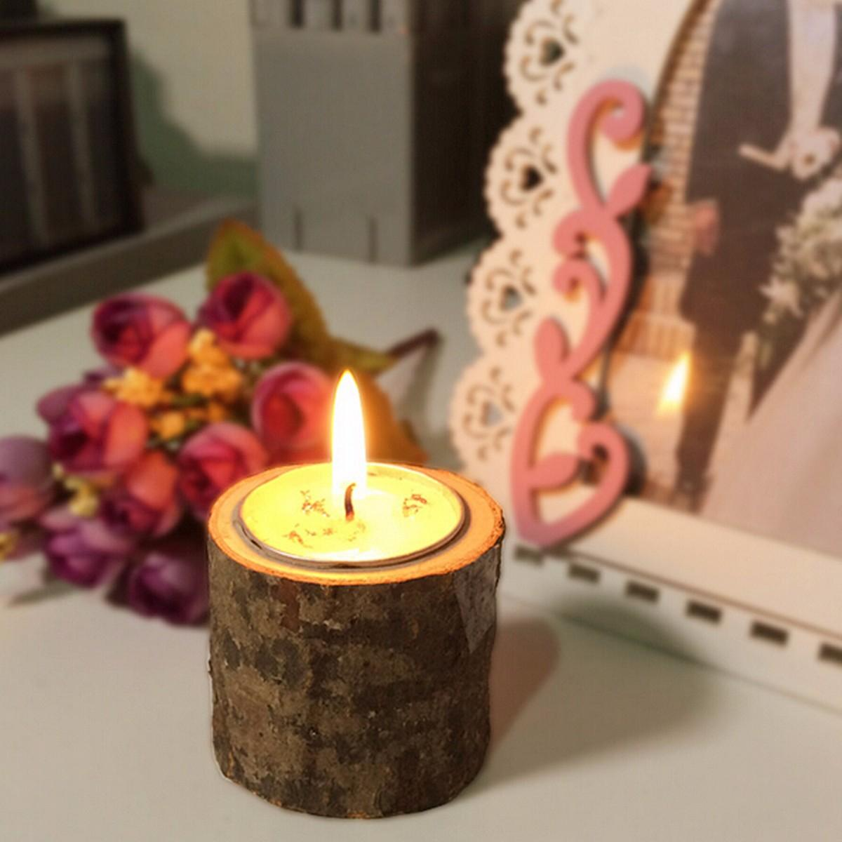 Wooden Rustic Candle Holder Wedding Home Decor Candlesticks Lover Romantic Vindicate Candlelight Dinner Props