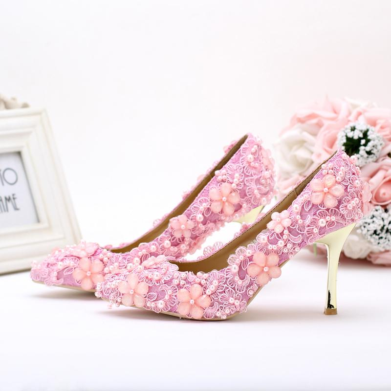 2016 Lovely Pink Pearl Lace Wedding Shoes Pointed Toe High Heeled ...