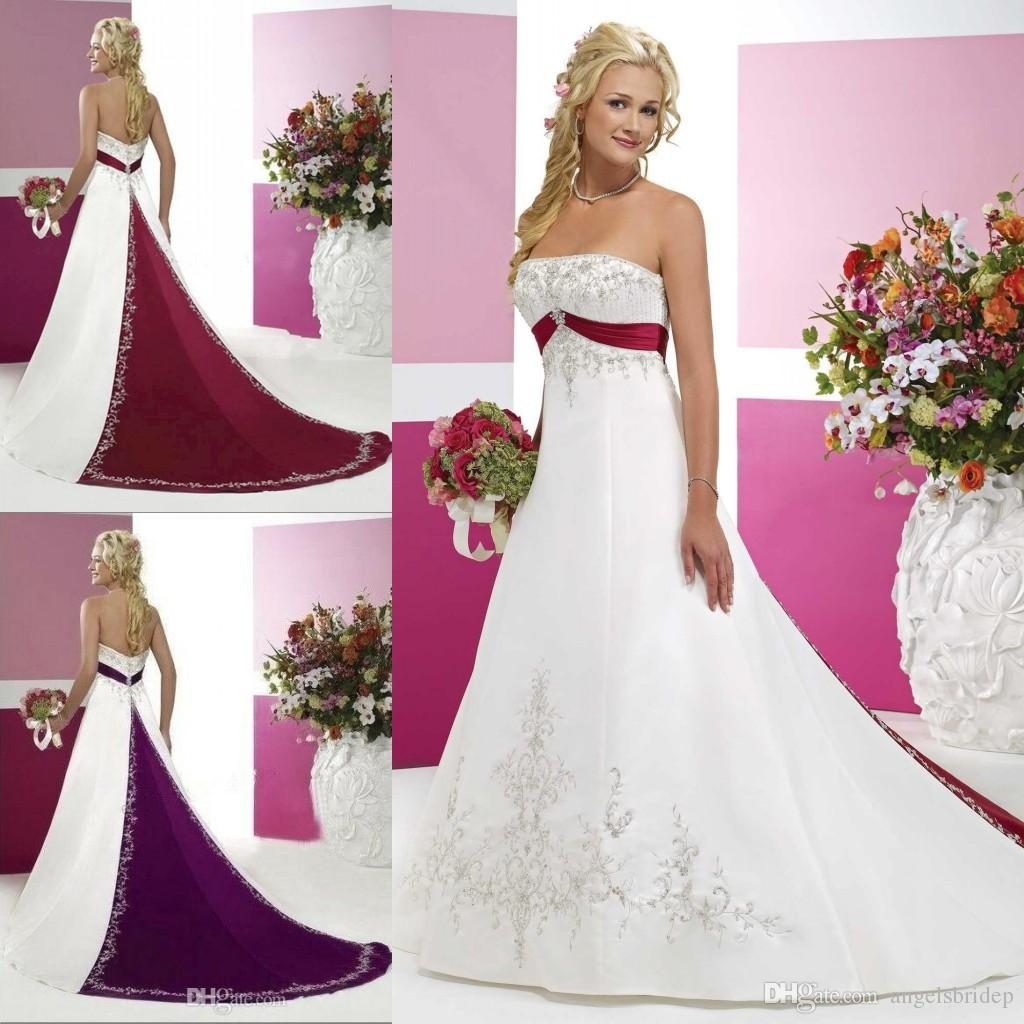 Discount Red And White Strapless Wedding Dresses Embroidery Appliques Lace Up