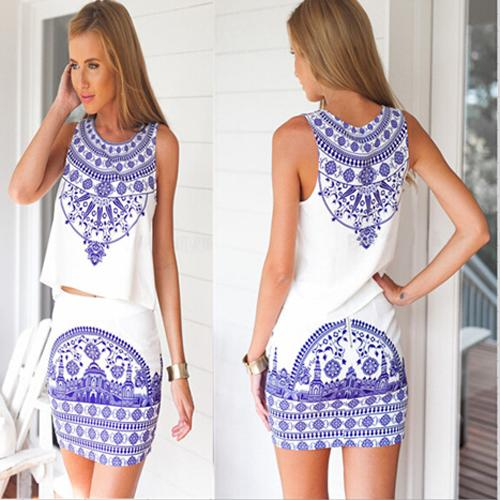 Casual Summer Dresses Spandex And Polyester Material Blue And ...