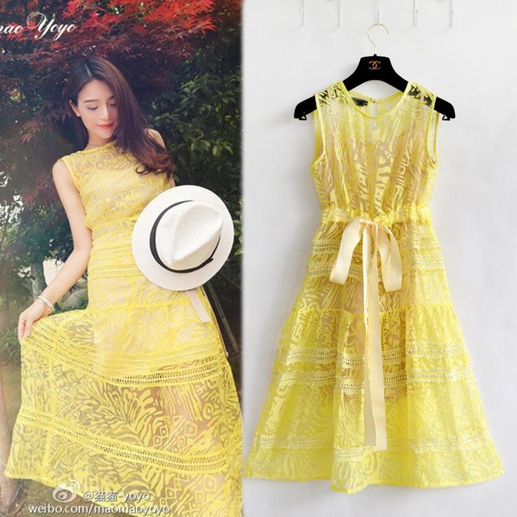 Yellow Lace Two Piece Elegant Long Party Dresses Tank In Stock ...
