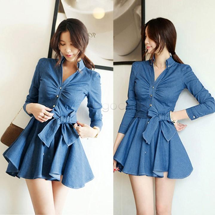 Online Cheap 2014 Autumn Slim Denim Dress Women Fashion Long ...