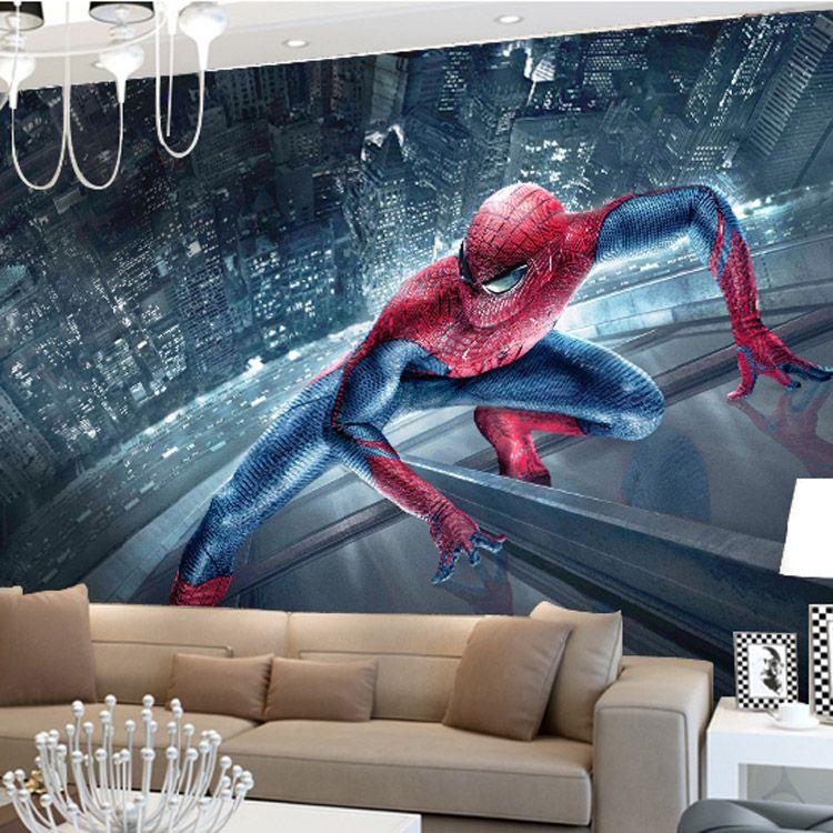 Marvel spiderman kids boys children photo wallpaper custom for Boys marvel bedroom ideas