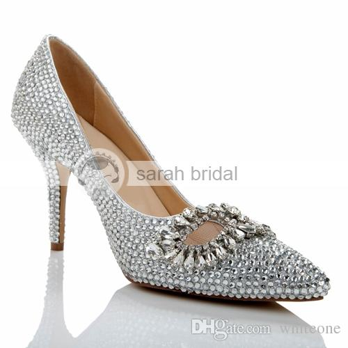 Vintage Man Made Sequins Wedding Shoes Silver Stiletto Heel 8.5 Cm