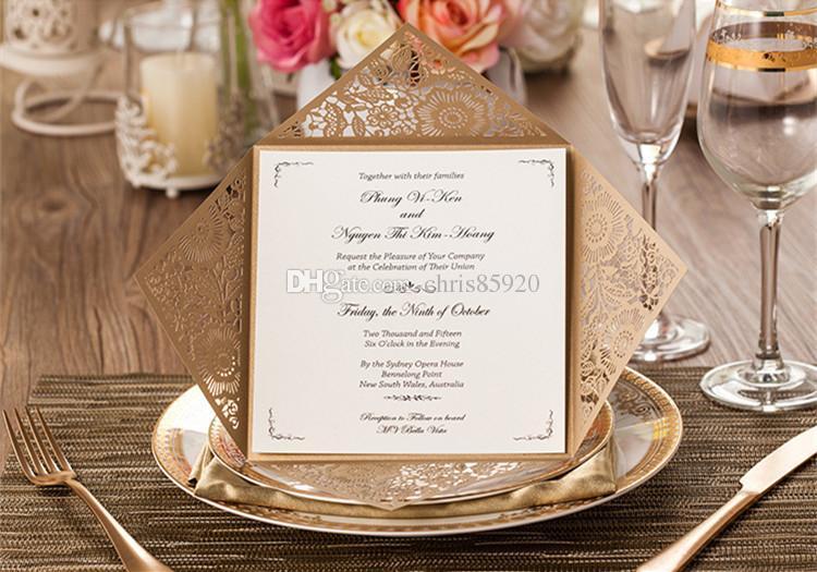 Tarjeta Laser Cut Invitaciones de boda de oro blanco Interior Hoja de invitación de la boda