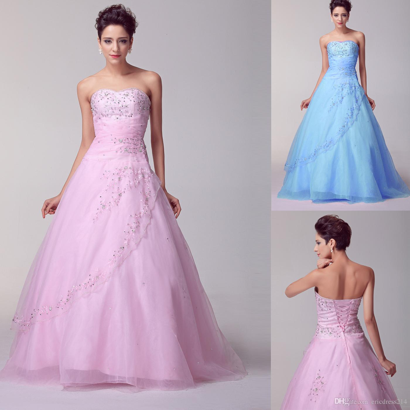 Fashion Pink Quinceanera Dresses Blue White Ball Gowns Beaded ...