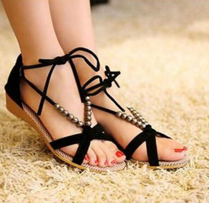 2015 Summer Big Girls Sandals Shoes Cross Lace Up Beading Children ...
