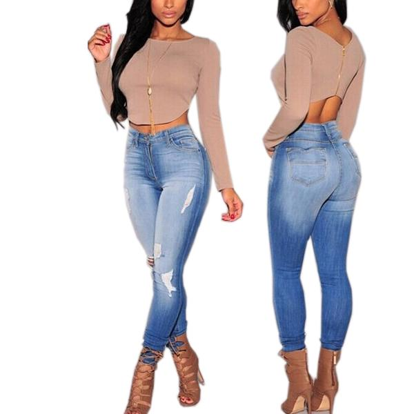 2017 2015 High Waist Skinny Tight Jeans Pencil Stretch Ripped ...